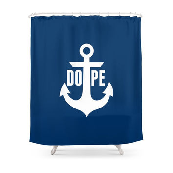 Society6 Nautical Anchor Cool Dope Navy Blue White Shower Curtains