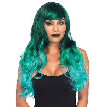 Ombre Dark Mermaid Turquoise Black Wavy Long Hair Wig
