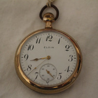 Antique 7 Jewel Elgin Pocketwatch gold plated mfg 1913 S-10 RUNS !