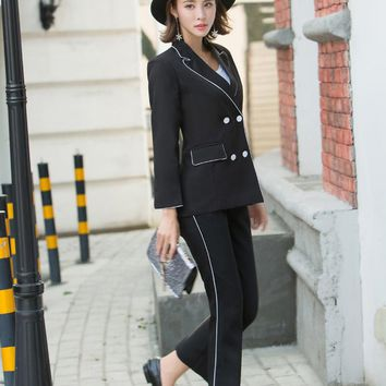 Women Black Work Pant Suits Office Lady Fashion Uniform Jacket Blazer & High Waist Ankle-Length Pant Femme Outfit Terno Feminino
