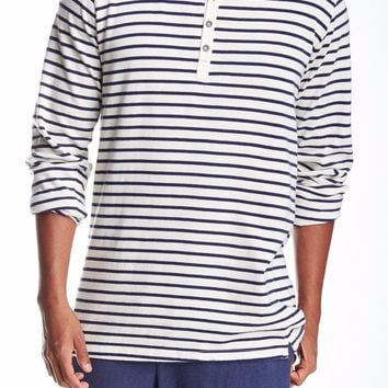 Men's Long Length Sleeve Henley Striped Shirt, Size S