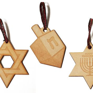 Jewish Themed Set of 3 Laser Engraved Wooden Christmas Tree Ornament Gift Seasonal Decoration