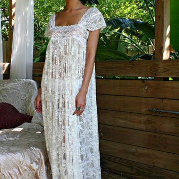 Sheer Lace Bridal Nightgown Wedding Lingerie Romance Boudoir Honeymoon Off Shoulder Drop Cap Sleeve Sleepwear