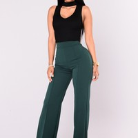 Victoria High Waisted Dress Pants - Hunter Green
