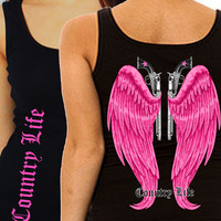 Country Life Outfitters Black & Pink Wings Guns Vintage Girlie Bright Fitted Tank Top Shirt