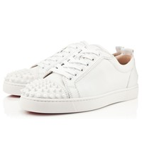 LOUIS JUNIOR SPIKES CALF,WHITE,Calf,Men Shoes,Louboutin.