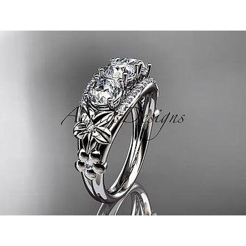 Platinum diamond 3 stone Forever One  Moissanite wedding ring ADLR203