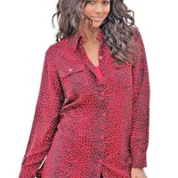 Roamans Red Animal Print Plus Size 1X Shirt New