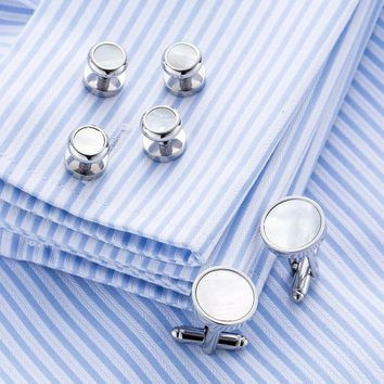 VAGULA Sea Shell Cufflinks Collar Studs Set 6pcs set AAA Quality tuxedo Cuff Links Cufflings Men Jewelry 266