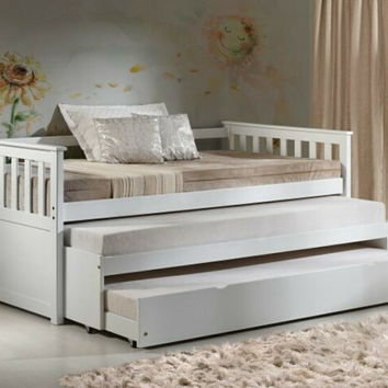 Acme 39080-83 Cominia white finish wood twin day bed with double pull out twin trundles