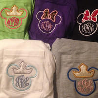 Monogram Disney Applique Pocket Tee with Minnie Bow or Princess Crown NF