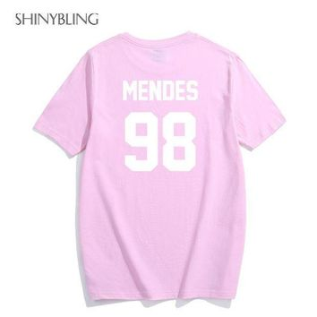 IKCKU62 Black White Grey Pink Plus-Size-Fashion for Shawn Mendes 98 High Quality Letter Print Graphic Cotton t shirts women 2017 summer