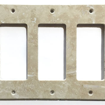 Ivory Travertine Triple Rocker Switch Wall Plate / Switch Plate / Cover - Honed