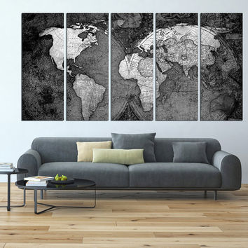 Best White World Map Wall Art Products On Wanelo - Grey world map canvas