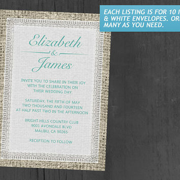 Aqua Vintage Burlap Wedding Invitations | Invites | Invitation Cards