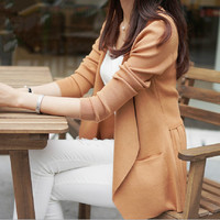new high quality fashion autumn spring women long-sleeve sweater knitted cardigan outerwear medium-long thin slim tops