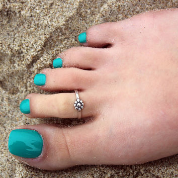 Vintage look sterling silver toe ring Single flower design toe ring adjustable toe ring (T-01) knuckle ring