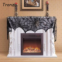 Tronzo Halloween Party Decor Cobweb Spoof Horrible Black Lace Spider Web Fireplace Scarf For Home Halloween Decoration 2017