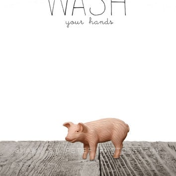 FLASH SALE til MIDNIGHT Baby Piglet Wash Your Hands Photo Print  Farm Animals, Kids Bathroom art, Wall Art Prints, - Children Room, Bathroom