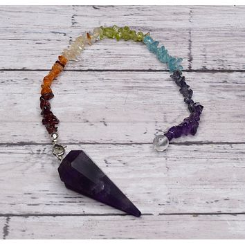 AMETHYST Pendulum - 7 Chakra Color Stones with Amethyst Point - Divination Tool