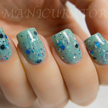 Proud Peacock Nail Polish  Teal Confetti Glitter Nail by KBShimmer