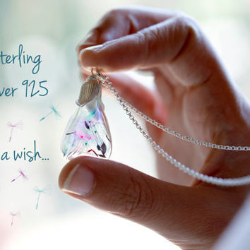 Rainbow dandelion teardrop necklace- sterling silver 925 - glass - make a wish - multicolor - bridesmaid gift - real flowers