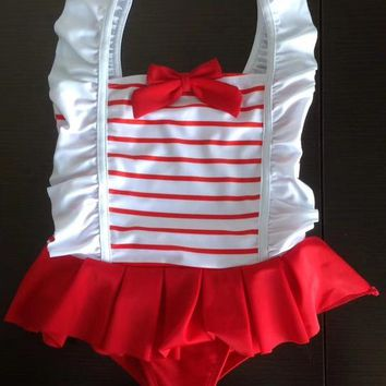 High Quality Red Stripes Baby Kids Girls Swimwear Children Swimsuit Surf Clothing Swimming Suits Sunscreen Beach Bathing Suit