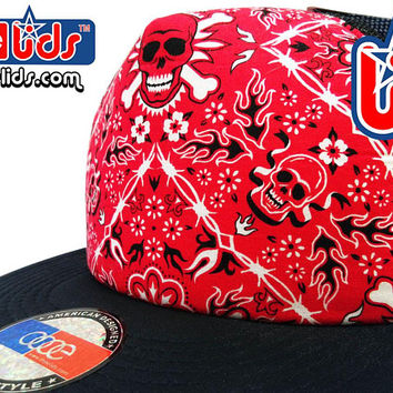 smARTpatches Truckers Red Skull Bandana Flat Bill Trucker Hat Cap Skater DJ Hip Hop Snowboard by lidstars headwear