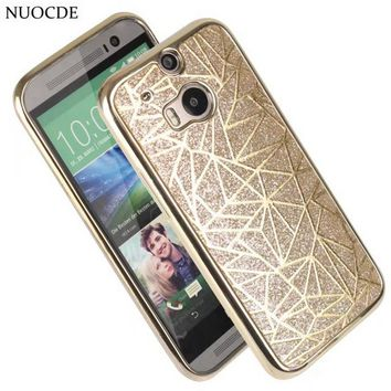 NUOCDE Luxury Glitter Bling Case For HTC One M8 M9 Plating Frame Slim Soft Silicon Funda Back Cover Capa Shell for HTC M8 M9