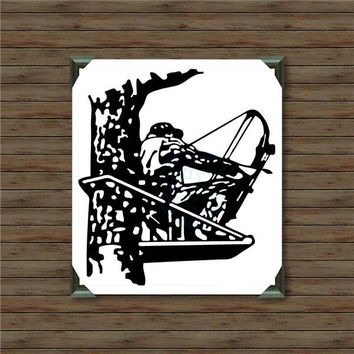 BOWHUNTER IN a TREE / vinyl decal / car decal / hunting decal / bow and arrow decal / black bear / hunter decal / bowhunter / deer hunting