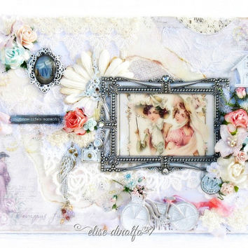 Mixed Media Altered Canvas Scrapbooking Keepsake Flowers & Lace Love 12 x 9 inches by Elise