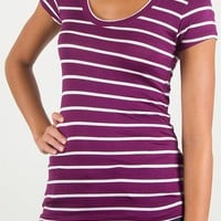 Short Sleeve Scoop Neck Striped Tee - Plum