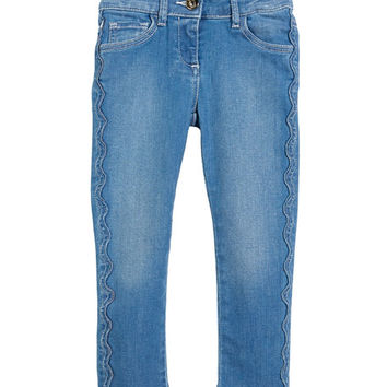 Chloe Raw-Hem Scallop Denim Jeans, Size 4-5 and Matching Items