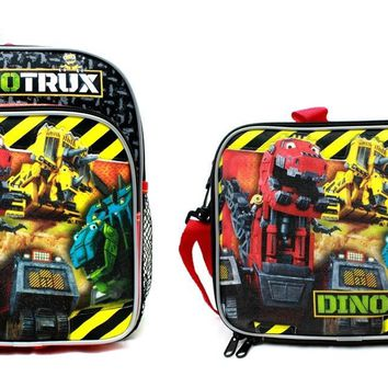 """Dreamworks DinoTrux 10"""" Canvas Black School Backpack Plus Insulated Lunch Bag"""