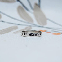 Coordinates / Date Ring - Handmade Sterling Silver 925 - Personalised Numbers or Text  - Quote Song Lyrics - Simple Thin Band - Gift for her