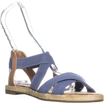 GB35 Colbey2 Criss Cross Espadrilles Sandals, Denim, 8 US
