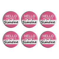 Simone Hello My Name Is Plastic Resin Button Set of 6