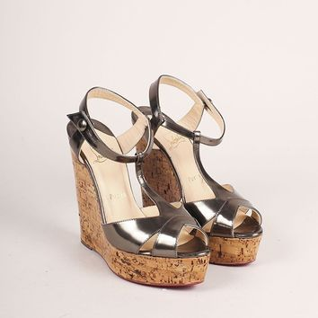 HCXX Silver Metallic Lacquered Cork Strappy Wedge Sandals