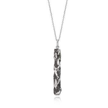 Hammered Necklace in Sterling Silver, Brick Line Necklace, Crumpled & Uneven Necklace, Unique Necklace