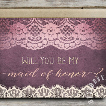Will You Be My Maid of Honor Card Purple Wedding Invitation, Maid of Honor Proposal, Maid of Honor Card, Ivory Lace Rose Gold Printable Card