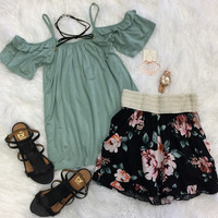 Day Down Town Cold Shoulder Top: Sage