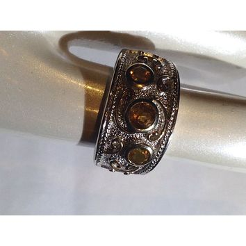 Vintage Gothic Golden Citrine 925 sterling silver band Ring