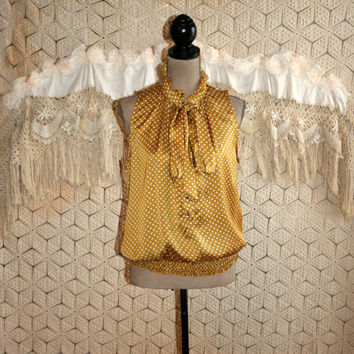 Gold Polka Dot Pussybow Blouse Sleeveless Dressy Top Satin High Neck Ruffle Collar Retro Blouse Womens Blouses Size Large Womens Clothing