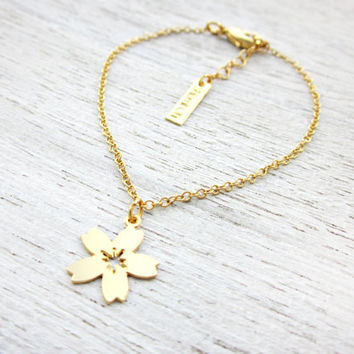 Tiny Cherry Blossom Link Bracelet, Valentine's Day gift gold silver minimalist pendant charm jewelry