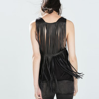 Faux leather fringed t-shirt