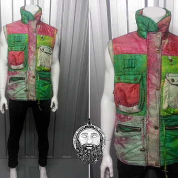 Vintage 80s Multi Colored Gilet by Rodeo Quilted Bodywarmer Ski Jacket Neon Clothing Quilted Jacket Padded Jacket Winter Sports