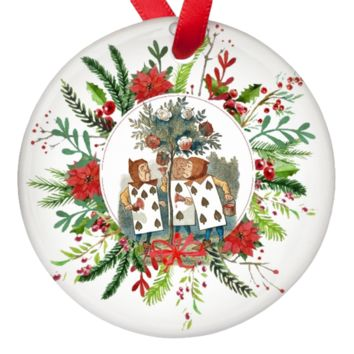 Alice in Wonderland Playing Cards Single Sided Porcelain Ornaments