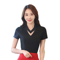 2017 Rushed Direct Selling Cotton Polyester Regular Blouse Tops Women Shirts Summer Slim Sleeve Professional Shirt Wear