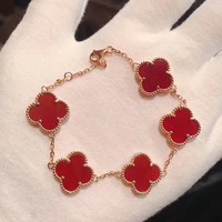Van Cleef & Arpels Fashion New Four-Leaf Clover Sterling Silver Personality Bracelet
