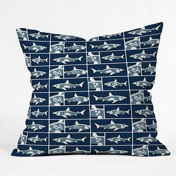 Raven Jumpo Shark X Ray Throw Pillow